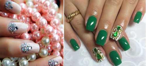 блестки для ногтей, варианты оформления ногтей с блестками